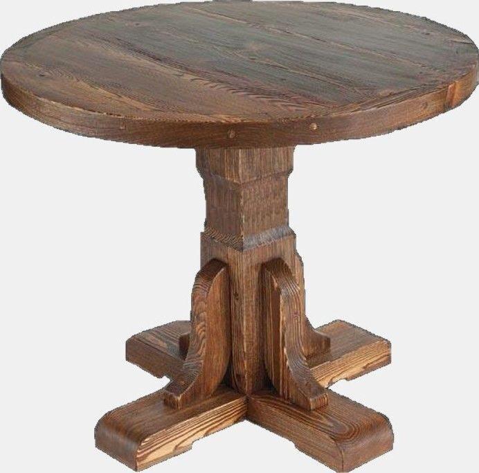 Круглый деревянный стол на одной ножке